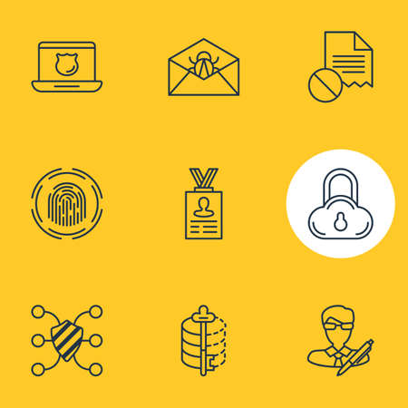 Vector Illustration Of 9 Data Protection Icons. Editable Pack Of Account Data, Data Security, Corrupted Mail And Other Elements. Illustration