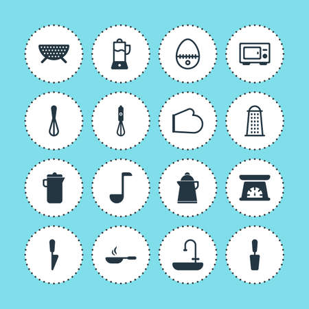 washbowl: Vector Illustration Of 16 Kitchenware Icons. Editable Pack Of Measuring Tool, Kitchen Dagger, Oven Mitts And Other Elements.