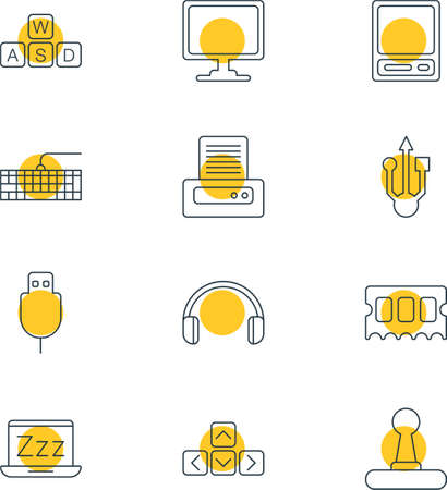 old notebook: Illustration Of 12 Computer Icons. Editable Pack Of Keyboard, Headsets, Printer And Other Elements.