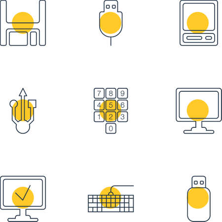 Illustration Of 9 Notebook Icons. Editable Pack Of Online Computer, Flash Drive, Serial Bus And Other Elements.