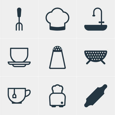 percolate: Vector Illustration Of 9 Cooking Icons. Editable Pack Of Bakery Roller, Sieve, Washstand Elements. Illustration