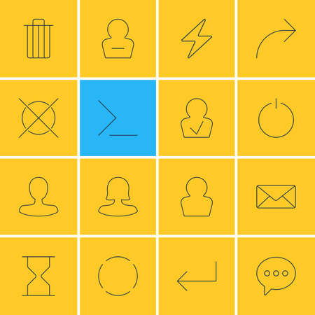 Vector Illustration Of 16 Interface Icons. Editable Pack Of Message, Envelope, Avatar And Other Elements. Illustration