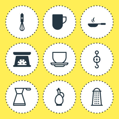 steelyard: Vector Illustration Of 9 Restaurant Icons. Editable Pack Of Handmixer, Frying Pan , Coffee Cup Elements. Illustration