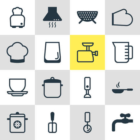 browning: Vector Illustration Of 16 Kitchenware Icons. Editable Pack Of Round Slicer, Sieve, Faucet And Other Elements.
