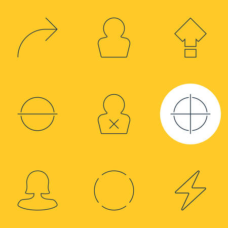 focalize: Vector Illustration Of 9 Interface Icons. Editable Pack Of Banned Member, Remove, Avatar And Other Elements.