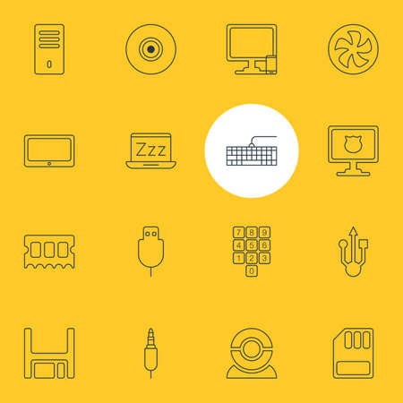 Vector Illustration Of 16 Notebook Icons. Editable Pack Of Phone Near Computer, Mainframe, Qwerty Board And Other Elements. Иллюстрация