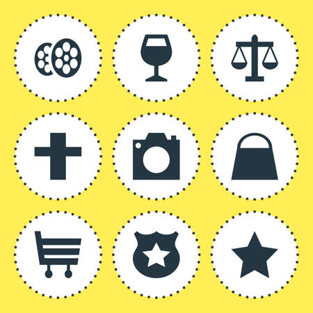 Vector Illustration Of 9 Map Icons. Editable Pack Of Cop, Photo Device, Film And Other Elements.