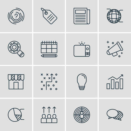 Vector Illustration Of 16 Social Icons. Editable Pack Of Tactical Plan, Advancement, Daily Press And Other Elements.