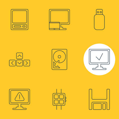 Vector Illustration Of 9 Notebook Icons. Editable Pack Of Tablet With PC, Modern Watch, Warning And Other Elements. Illustration