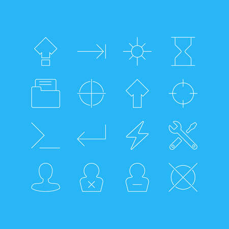 Vector Illustration Of 16 Interface Icons. Editable Pack Of Sunshine, Banned Member, Hourglass And Other Elements.