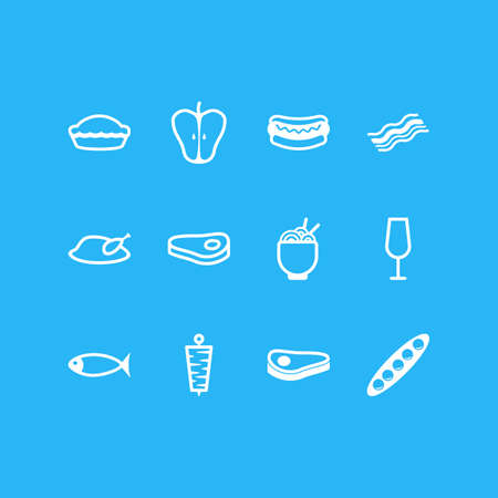 Vector Illustration Of 12 Food Icons. Editable Pack Of Sirloin, Streetfood, Jonagold And Other Elements.