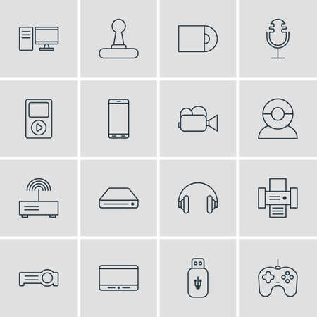 radio unit: Vector Illustration Of 16 Hardware Icons. Editable Pack Of Floodlight, Video Chat, Headset And Other Elements.