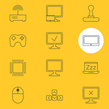 Vector Illustration Of 12 Computer Icons. Editable Pack Of Screen, Tablet, Microprocessor And Other Elements.