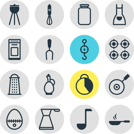housewares: Vector Illustration Of 16 Cooking Icons. Editable Pack Of Barbecue Tool, Furnace, Barbecue And Other Elements. Illustration