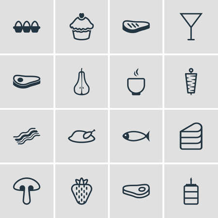 Vector Illustration Of 16 Dish Icons. Editable Pack Of Grill, Pastry, Meat And Other Elements.
