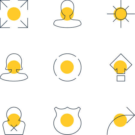 extensive: Vector Illustration Of 9 UI Icons. Editable Pack Of Man Member, Sunshine, Banned Member And Other Elements.