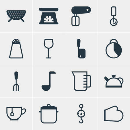 coking: Vector Illustration Of 16 Cooking Icons. Editable Pack Of Pepper Container, Whisk, Wine And Other Elements. Illustration