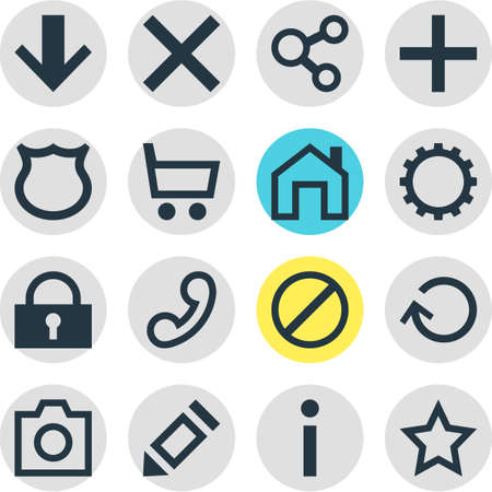 approbation: Vector Illustration Of 16 Interface Icons. Editable Pack Of Renovate, Pen, Mainpage And Other Elements. Illustration