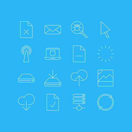 Vector Illustration Of 16 Network Icons. Editable Pack Of Removing File, Secure Laptop, Delete Data And Other Elements.