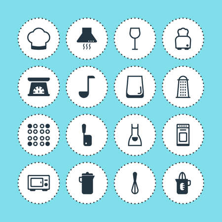 housewares: Vector Illustration Of 16 Cooking Icons. Editable Pack Of Slicer, Smock, Wine And Other Elements.