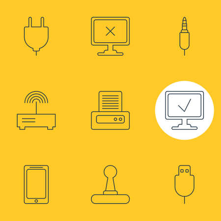 jack pack: Vector Illustration Of 9 Notebook Icons. Editable Pack Of Router, Input Jack, Socket And Other Elements.