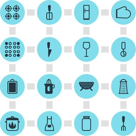 Vectorillustratie van 16 pictogrammen van het restaurant. Bewerkbare Pack van Kitchen Dagger, Can, Cooking Spade en andere elementen.