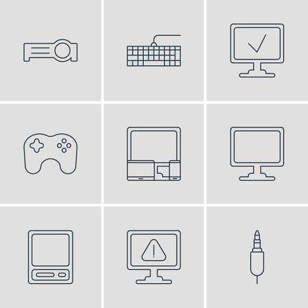 minicomputer: Vector Illustration Of 9 Notebook Icons. Editable Pack Of Gadgets, Online Computer, Input Jack And Other Elements. Illustration
