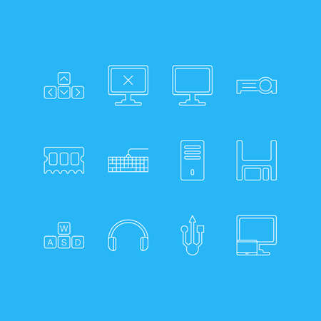Vector Illustration Of 12 Laptop Icons. Editable Pack Of Tablet With PC, Qwerty Board, Screen And Other Elements. Illustration