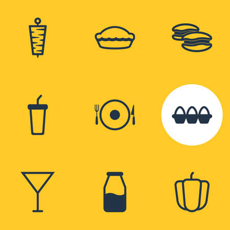 cruet: Vector Illustration Of 9 Meal Icons. Editable Pack Of Cruet, Meat, Martini And Other Elements.