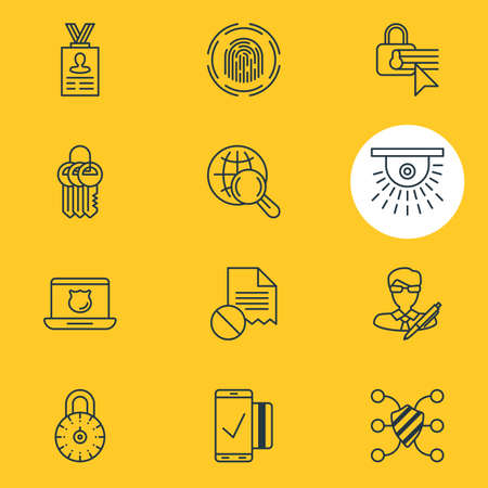 Vector Illustration Of 12 Web Safety Icons. Editable Pack Of Easy Payment, Finger Identifier, Internet Surfing And Other Elements. Illustration