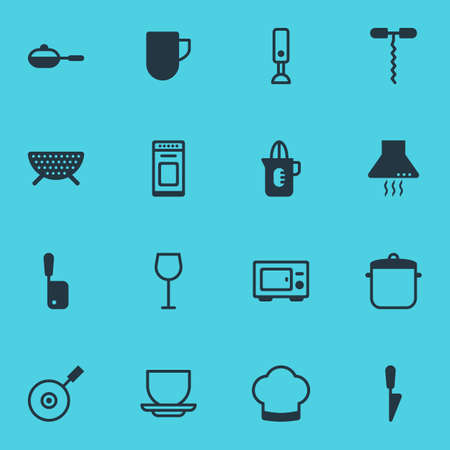 Vector Illustration Of 16 Kitchenware Icons. Editable Pack Of Oven, Wine, Mixer And Other Elements. Illustration
