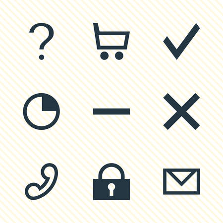 Vector Illustration Of 9 User Icons. Editable Pack Of Handset, Wrong , Letter Elements.