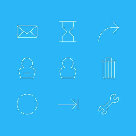Vector Illustration Of 9 Interface Icons. Editable Pack Of Share, Repeat, Garbage And Other Elements.