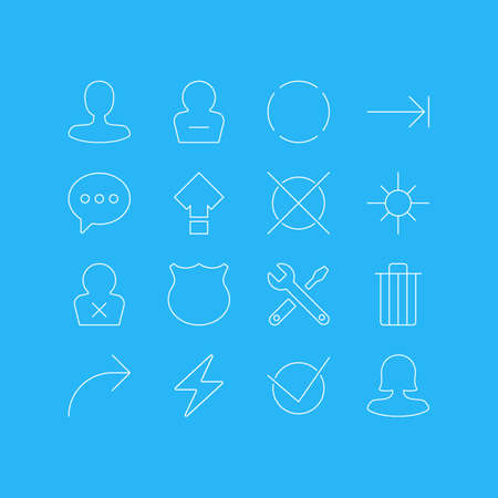 Vector Illustration Of 16 Interface Icons. Editable Pack Of Remove User, Share, Repeat And Other Elements.