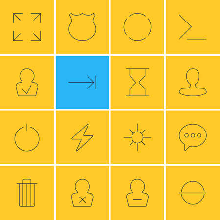 tabulation: Vector Illustration Of 16 UI Icons. Editable Pack Of Tabulation Button, Wide Monitor, Man Member And Other Elements. Illustration