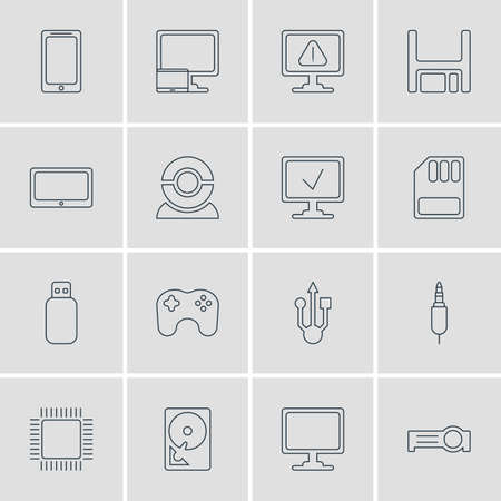 Vector Illustration Of 16 Laptop Icons. Editable Pack Of Presentation, Screen, Smartphone And Other Elements.