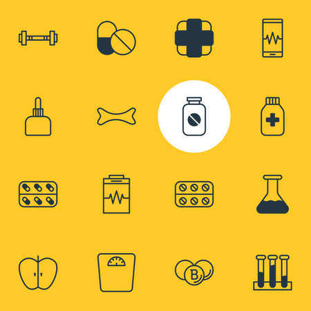 Vector Illustration Of 16 Health Icons. Editable Pack Of Pills, Medicine Jar, Treatment And Other Elements. Illustration