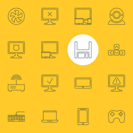 Vector Illustration Of 16 Computer Icons. Editable Pack Of Tablet With PC, Smartphone, Warning And Other Elements.