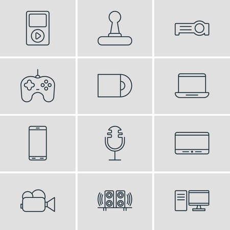 cinema screen: Vector Illustration Of 12 Accessory Icons. Editable Pack Of Media Controller, Smartphone, Computer And Other Elements. Illustration