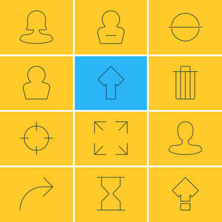 Vector Illustration Of 12 User Interface Icons. Editable Pack Of Screen Capture, Female User, Man Member And Other Elements.