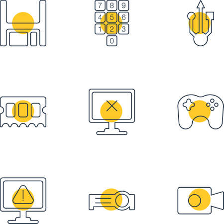 Vector Illustration Of 9 Laptop Icons. Editable Pack Of Memory Chip, Presentation, Number Keypad And Other Elements.