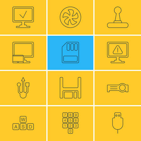 Vector Illustration Of 12 Notebook Icons. Editable Pack Of Usb Icon, Cooler, Diskette And Other Elements.