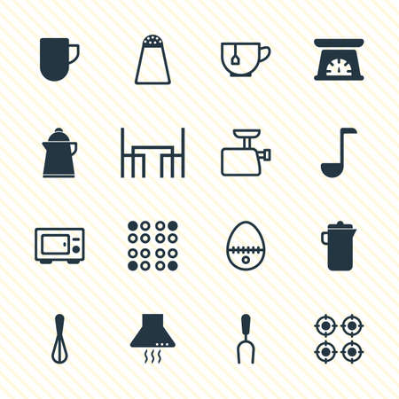 barbecue stove: Vector Illustration Of 16 Kitchenware Icons. Editable Pack Of Barbecue Tool, Mincer, Mug And Other Elements. Illustration
