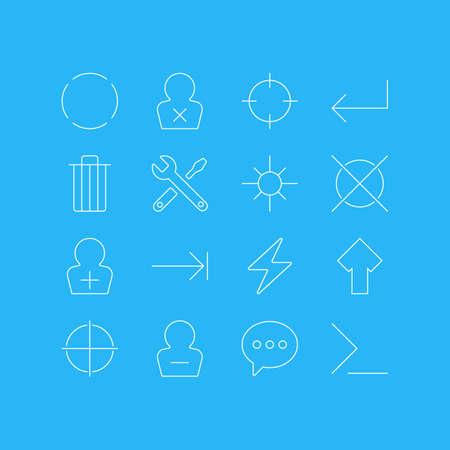 16 일 UI 아이콘 벡터 일러스트 레이 션. 편집 가능한 가비지, Accsess, 시작 및 다른 요소의 팩. 일러스트