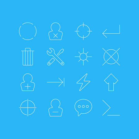 Vector Illustration Of 16 UI Icons. Editable Pack Of Garbage, Accsess, Startup And Other Elements.