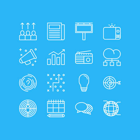 Vector Illustration Of 16 Ad Icons. Editable Pack Of Daily Press, Network, Cloud Distribution And Other Elements. Illusztráció