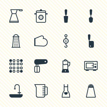 Vektor-Illustration von 16 Geschirr Icons. Bearbeitbare Packung Schneebesen, Kittel, Pfefferbehälter und andere Elemente. Standard-Bild - 77623882