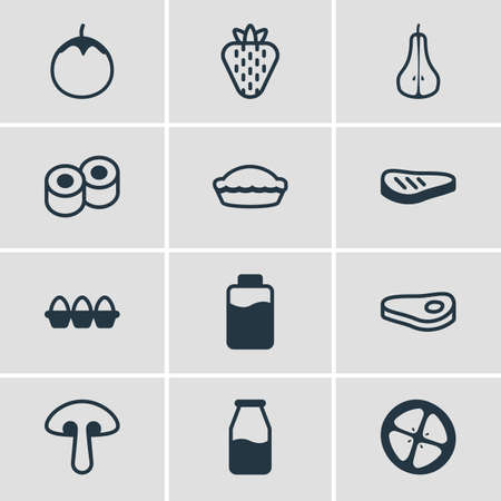 Vector Illustration Of 12 Food Icons. Editable Pack Of Flan, Duchess, Fungus And Other Elements.