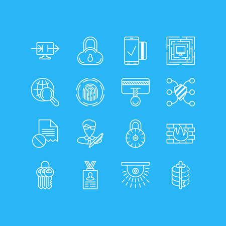 valid: Vector Illustration Of 16 Privacy Icons. Editable Pack Of Internet Surfing, Encoder, Camera And Other Elements. Illustration