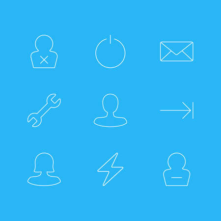 Vector Illustration Of 9 Interface Icons. Editable Pack Of Wrench, Remove User, Envelope And Other Elements.